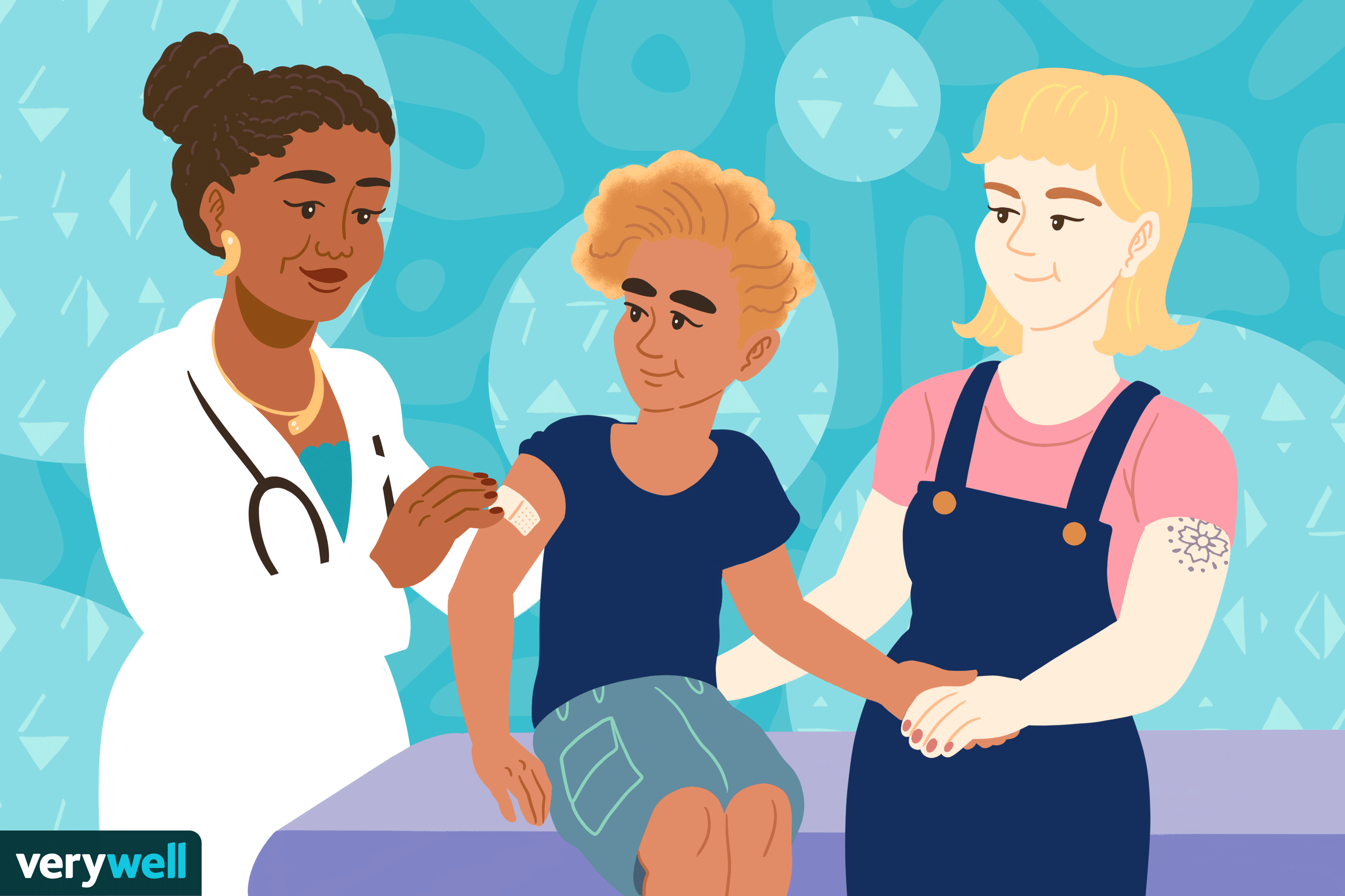 Illustration of child at the doctor getting a shit