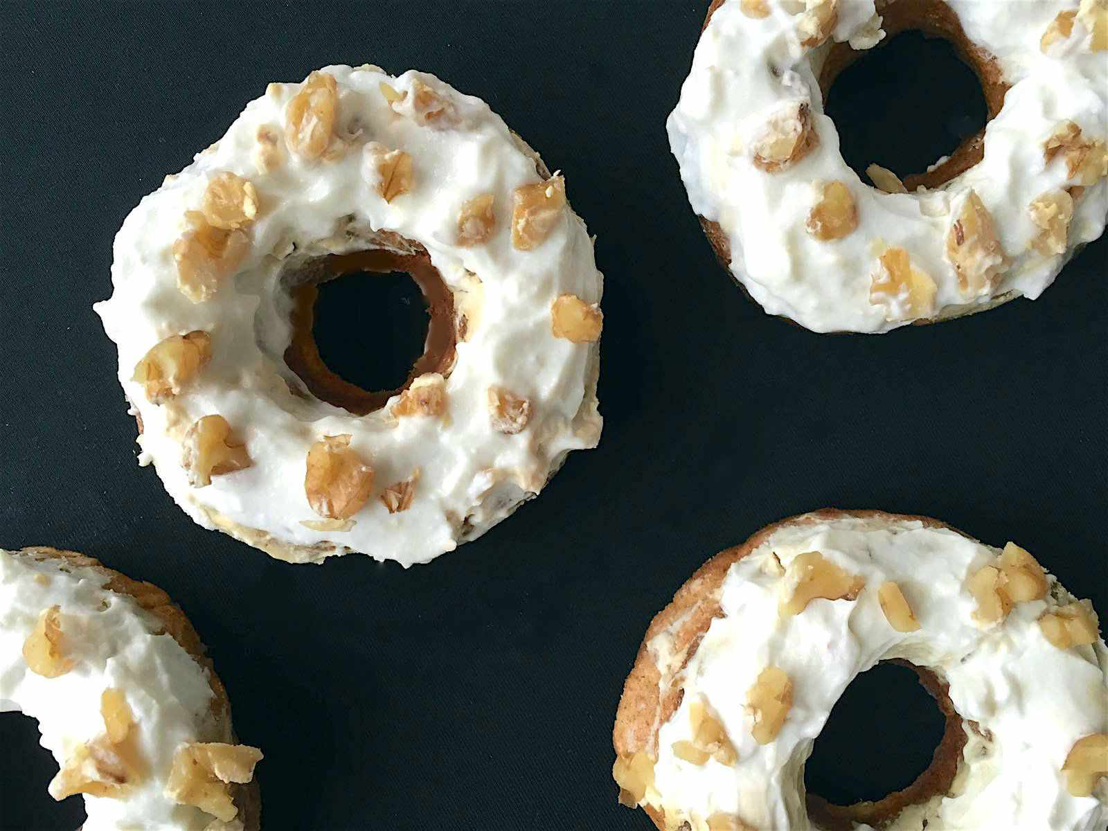 banana bread doughnuts with honeyed yogurt glaze