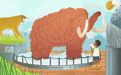 An illustration of a boy at the zoo
