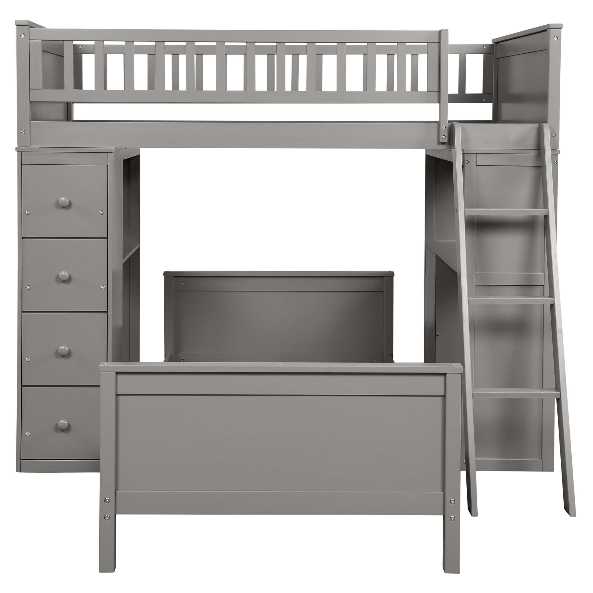 Henri Twin over Twin L-Shaped Bunk Beds with Shelves and 4 Drawers