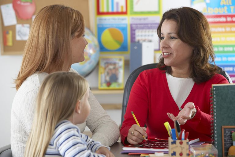 Mother and daughter (4-6) with mature female teacher in classroom