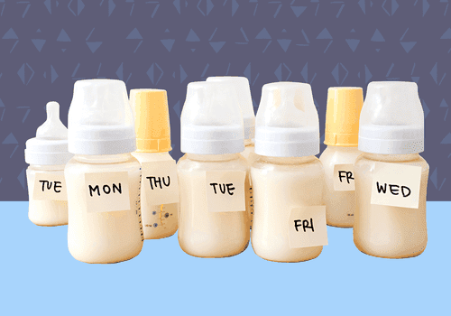 Breast milk bottles with labels for days of the week