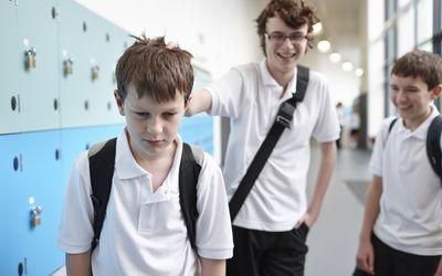 middle school boy being bullied in hallway near lockers