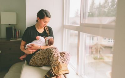 Woman breast feeding