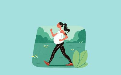 Illustration of pregnant woman walking