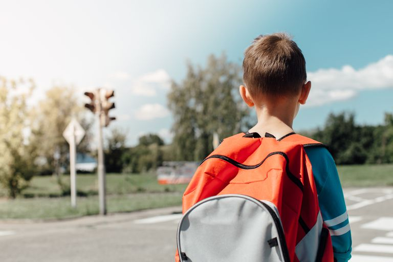 Rear View Of Schoolboy Carrying Backpack While Standing On Road
