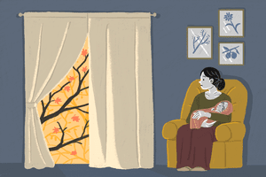 illustration of woman holding her baby
