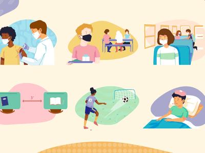 Spot illustrations of school children