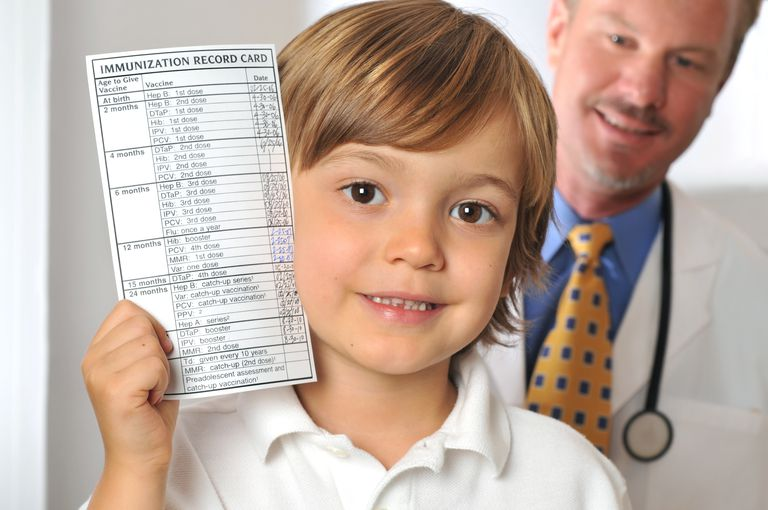 Young Boy Holding Immunization Record in Doctor's Office