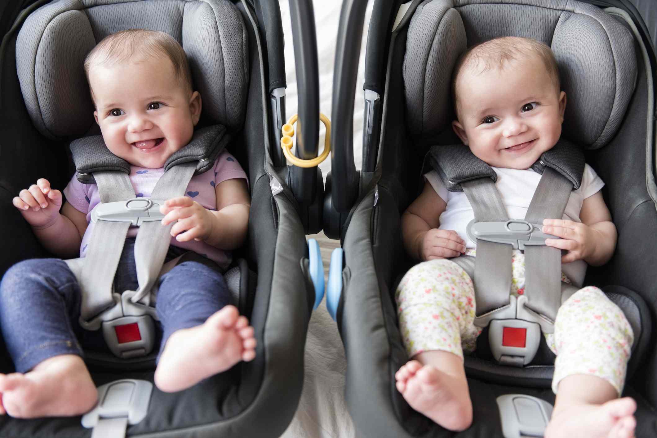 twin babies in car seats