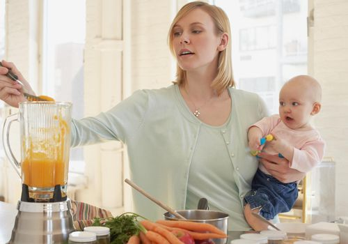 A mother cooking