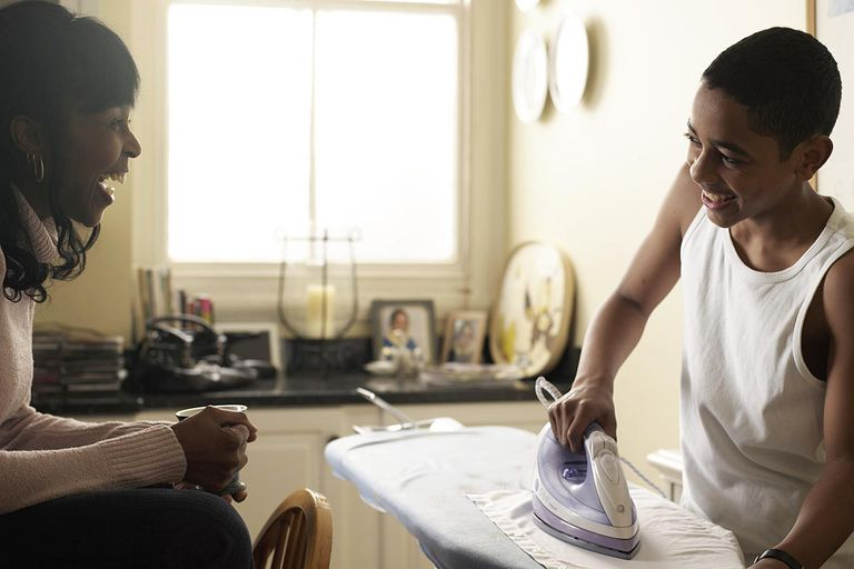 Son doing chores