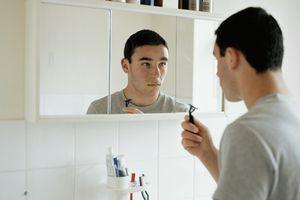 teen boy shaving