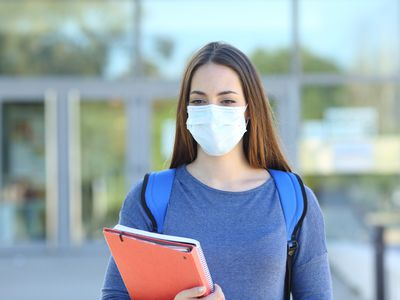 college student wearing a mask