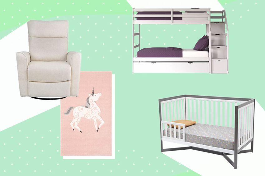 green background with glider, rug, bed and crib from Wayfair