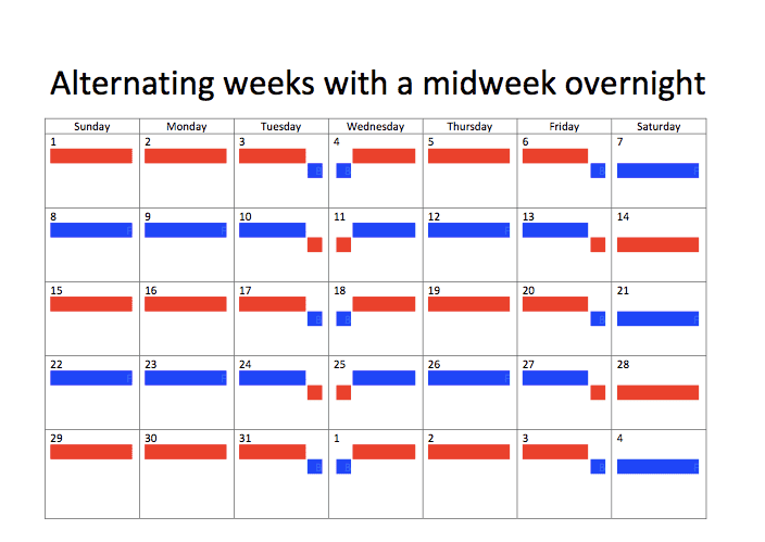 Alternating weeks with a midweek overnight joint custody schedule