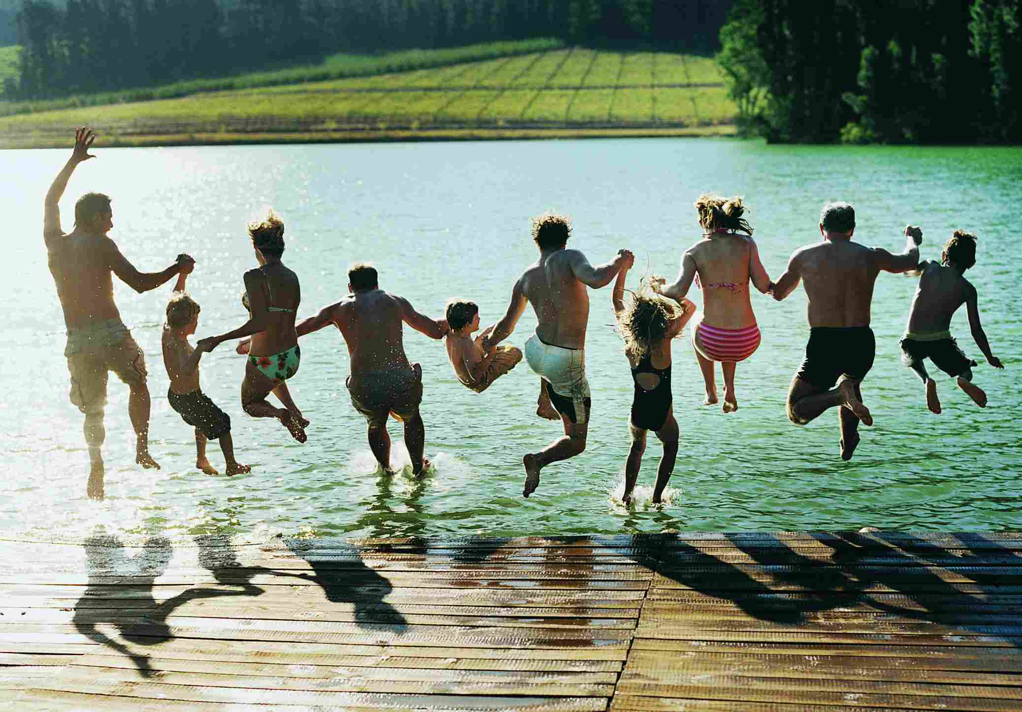 Family in a lake