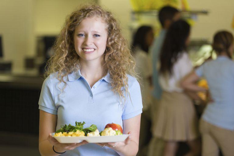 smiling girl in lunchroom