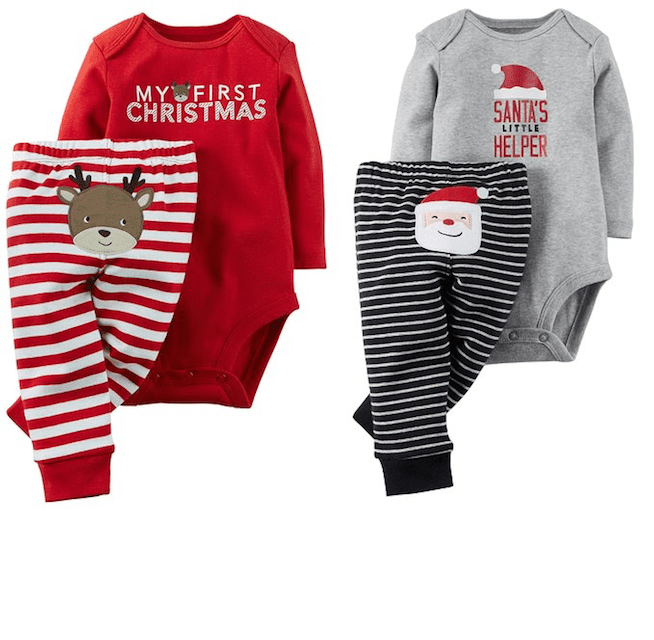 Set of 2 Baby Christmas Outfits - Twin Christmas Outfits - Holiday Clothing For Twins