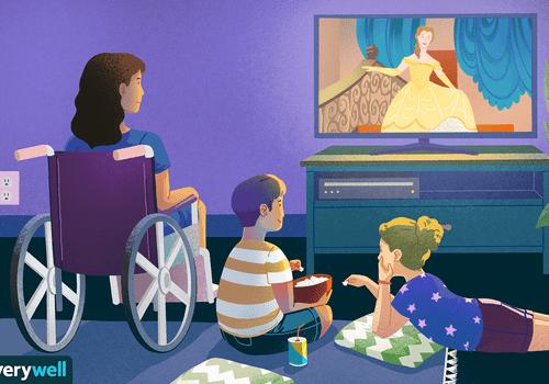 Illustration of children watching princess movie