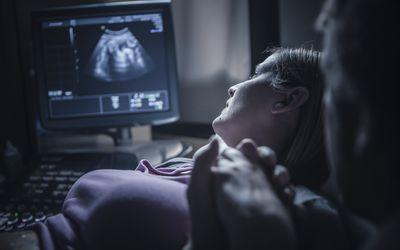 A pregnant woman having sonohysterography
