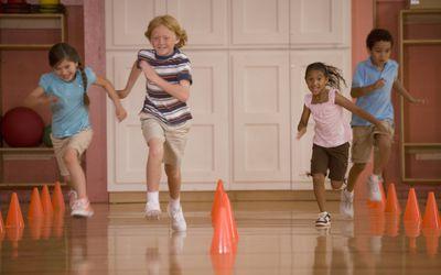Kids running in gym