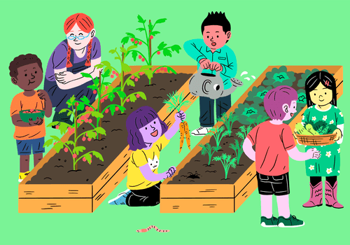 illustration of school kids gardening