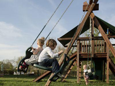 Kids on swing set
