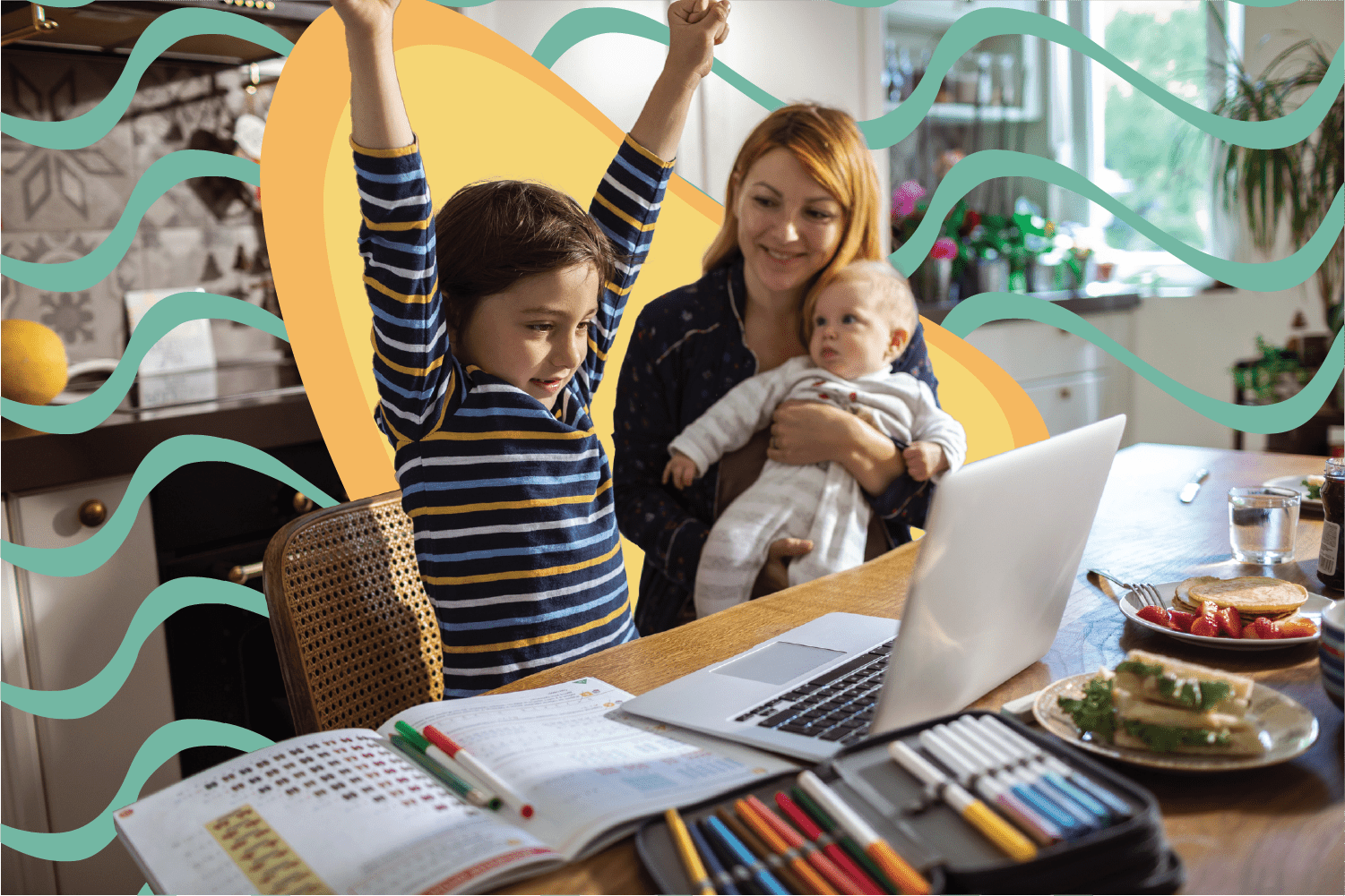 Child cheering in front of computer with mother over his shoulder