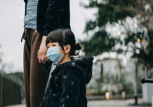 little asian girl wearing a face mask