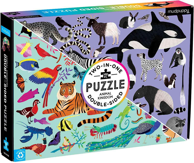 Mudpuppy Animal Kingdom 100-Piece, Double-Sided Puzzle