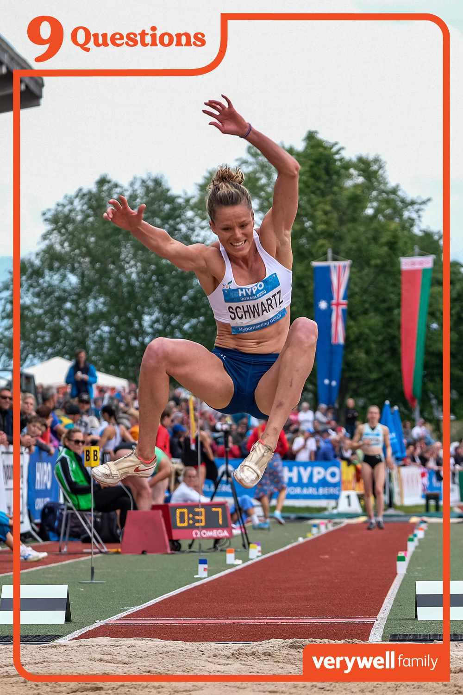 Lindsay Scwartz Flach competes in long jump