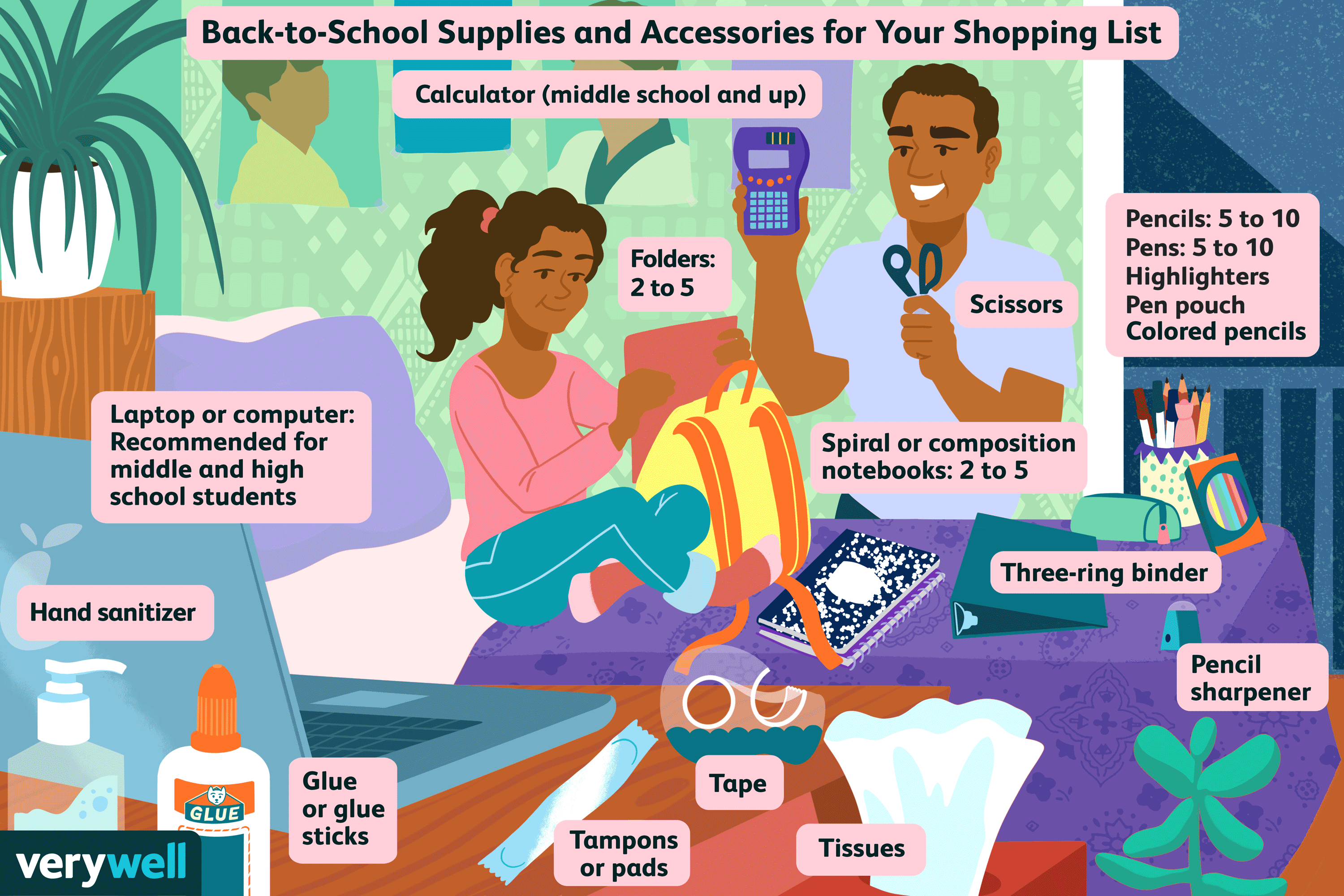 Illustration of father and daughter reviewing back to school purchases