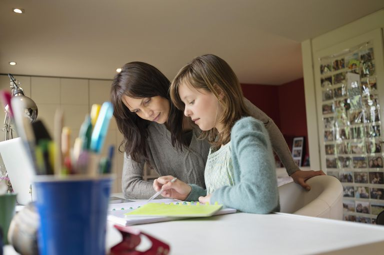 Girl studying with her mother at home