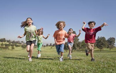 Kids running in the park