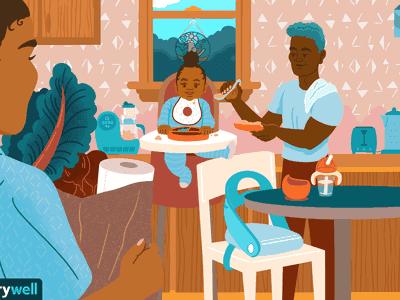 Illustration of family feeding baby