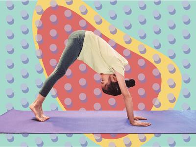 Child doing downward dog on yoga mat