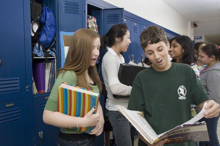 Tween students socializing near lockers