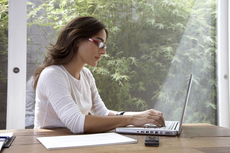Woman using laptop at office desk