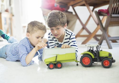 Brothers playing with toy tractor on floor