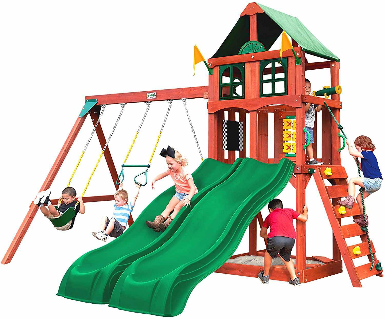 Gorilla Playsets 01-1057 Playmaker Deluxe Wooden Swing Set
