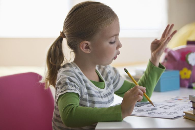 girl doing math homework