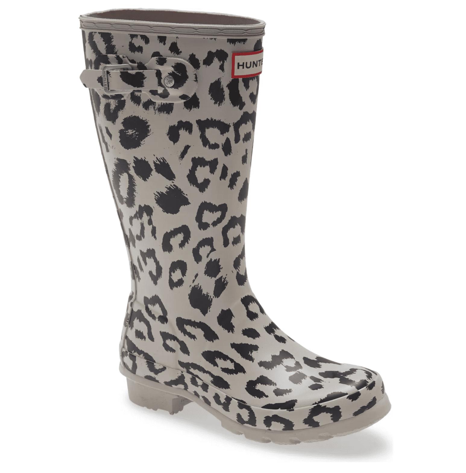 Hunter Kids' Original Tall Leopard Print Waterproof Rain Boot