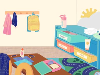 Illustration of school room