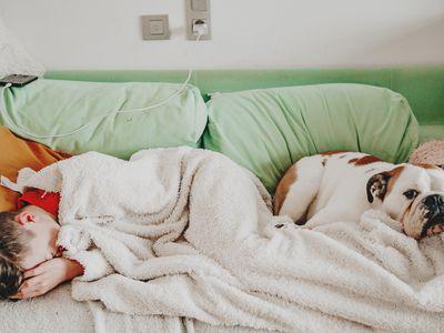 Teen Boy on Couch Sleeping