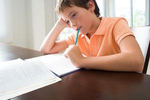 Boy bored with homework