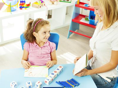 Child at speech therapy session