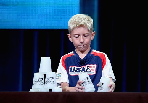 Sport stacking champ Austin Naber in 2015