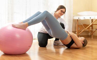 woman exercise ball