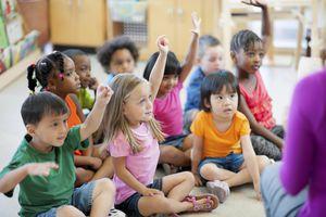 Kindergarten children learning